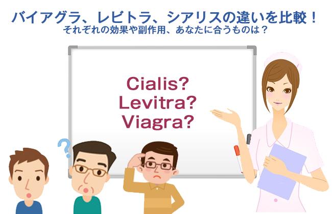 バイアグラ、レビトラ、シアリスの違いを比較!それぞれの効果や副作用、あなたに合うものは?